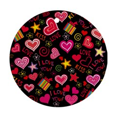 Love Hearts Sweet Vector Round Ornament (two Sides) by Simbadda