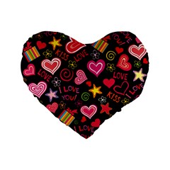 Love Hearts Sweet Vector Standard 16  Premium Flano Heart Shape Cushions by Simbadda