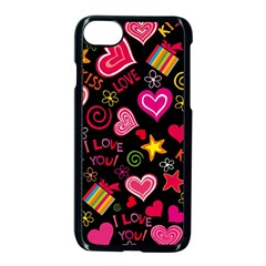 Love Hearts Sweet Vector Apple Iphone 7 Seamless Case (black) by Simbadda