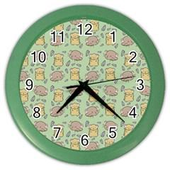 Cute Hamster Pattern Color Wall Clocks