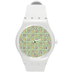 Cute Hamster Pattern Round Plastic Sport Watch (m) by Simbadda