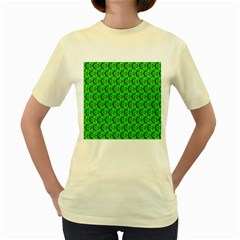 Green Abstract Art Circles Swirls Stars Women s Yellow T Shirt