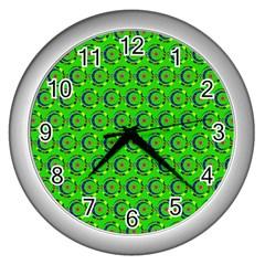 Green Abstract Art Circles Swirls Stars Wall Clocks (silver)  by Simbadda
