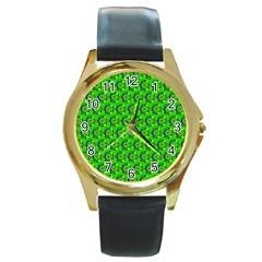 Green Abstract Art Circles Swirls Stars Round Gold Metal Watch by Simbadda
