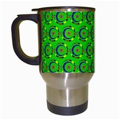 Green Abstract Art Circles Swirls Stars Travel Mugs (white) by Simbadda