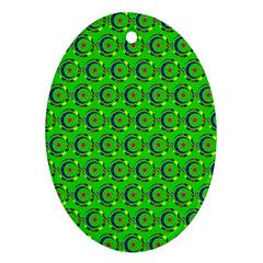 Green Abstract Art Circles Swirls Stars Oval Ornament (two Sides) by Simbadda