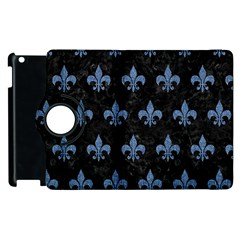 Royal1 Black Marble & Blue Denim (r) Apple Ipad 2 Flip 360 Case by trendistuff