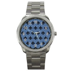 Royal1 Black Marble & Blue Denim Sport Metal Watch by trendistuff