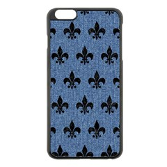 Royal1 Black Marble & Blue Denim Apple Iphone 6 Plus/6s Plus Black Enamel Case by trendistuff