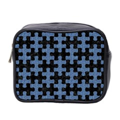 Puzzle1 Black Marble & Blue Denim Mini Toiletries Bag (two Sides) by trendistuff