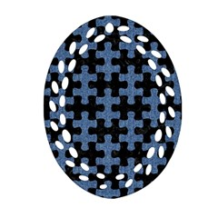 Puzzle1 Black Marble & Blue Denim Ornament (oval Filigree) by trendistuff