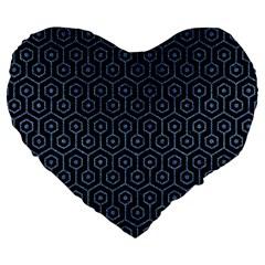 Hexagon1 Black Marble & Blue Denim Large 19  Premium Flano Heart Shape Cushion by trendistuff