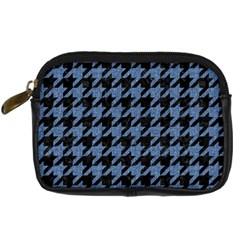 Houndstooth2 Black Marble & Blue Denim Digital Camera Leather Case by trendistuff