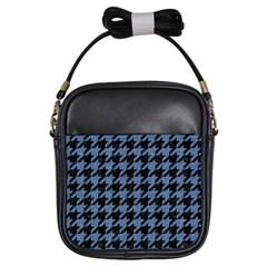 Houndstooth2 Black Marble & Blue Denim Girls Sling Bag by trendistuff
