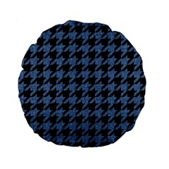 Houndstooth2 Black Marble & Blue Denim Standard 15  Premium Flano Round Cushion  by trendistuff