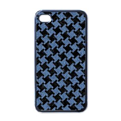 Houndstooth1 Black Marble & Blue Denim Apple Iphone 4 Case (black) by trendistuff