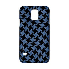 Houndstooth1 Black Marble & Blue Denim Samsung Galaxy S5 Hardshell Case  by trendistuff