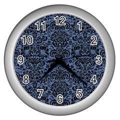 Damask2 Black Marble & Blue Denim (r) Wall Clock (silver) by trendistuff