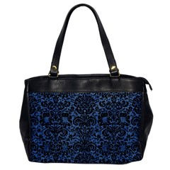 Damask2 Black Marble & Blue Denim (r) Oversize Office Handbag by trendistuff