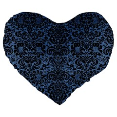 Damask2 Black Marble & Blue Denim (r) Large 19  Premium Heart Shape Cushion by trendistuff