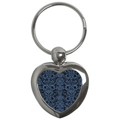 Damask2 Black Marble & Blue Denim Key Chain (heart) by trendistuff