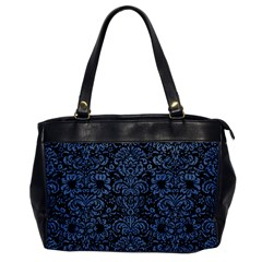 Damask2 Black Marble & Blue Denim Oversize Office Handbag by trendistuff