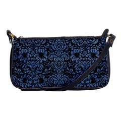 Damask2 Black Marble & Blue Denim Shoulder Clutch Bag by trendistuff