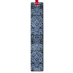 Damask2 Black Marble & Blue Denim Large Book Mark by trendistuff