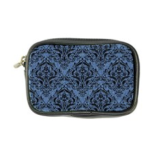 Damask1 Black Marble & Blue Denim (r) Coin Purse by trendistuff