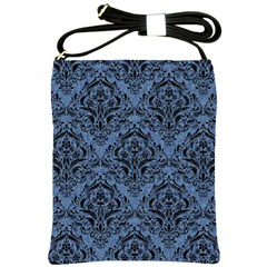 Damask1 Black Marble & Blue Denim (r) Shoulder Sling Bag by trendistuff