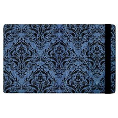 Damask1 Black Marble & Blue Denim (r) Apple Ipad 2 Flip Case by trendistuff