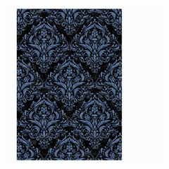 Damask1 Black Marble & Blue Denim Small Garden Flag (two Sides)
