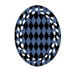 Diamond1 Black Marble & Blue Denim Ornament (oval Filigree) by trendistuff