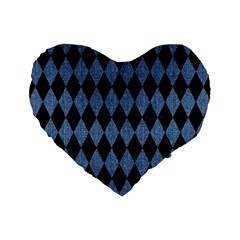 Diamond1 Black Marble & Blue Denim Standard 16  Premium Flano Heart Shape Cushion  by trendistuff