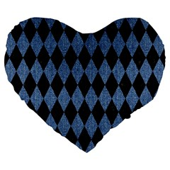Diamond1 Black Marble & Blue Denim Large 19  Premium Flano Heart Shape Cushion by trendistuff