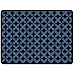 Circles3 Black Marble & Blue Denim Double Sided Fleece Blanket (large) by trendistuff
