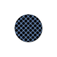 Circles2 Black Marble & Blue Denim (r) Golf Ball Marker by trendistuff