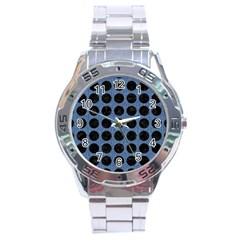 Circles1 Black Marble & Blue Denim (r) Stainless Steel Analogue Watch