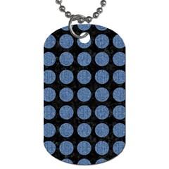 Circles1 Black Marble & Blue Denim Dog Tag (two Sides) by trendistuff