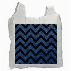 Chevron9 Black Marble & Blue Denim (r) Recycle Bag (two Side) by trendistuff