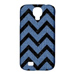 Chevron9 Black Marble & Blue Denim (r) Samsung Galaxy S4 Classic Hardshell Case (pc+silicone) by trendistuff