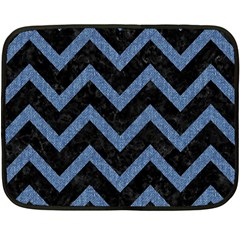 Chevron9 Black Marble & Blue Denim Fleece Blanket (mini) by trendistuff