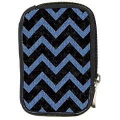 Chevron9 Black Marble & Blue Denim Compact Camera Leather Case by trendistuff