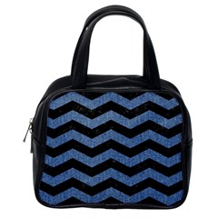 Chevron3 Black Marble & Blue Denim Classic Handbag (one Side) by trendistuff