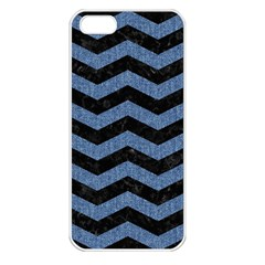 Chevron3 Black Marble & Blue Denim Apple Iphone 5 Seamless Case (white)