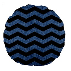 Chevron3 Black Marble & Blue Denim Large 18  Premium Round Cushion  by trendistuff
