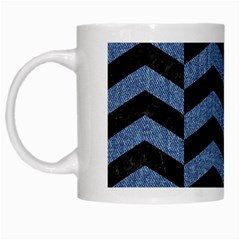 Chevron2 Black Marble & Blue Denim White Mug by trendistuff