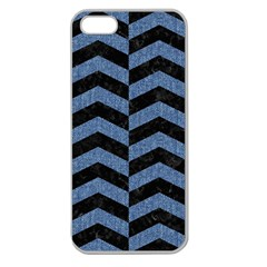 Chevron2 Black Marble & Blue Denim Apple Seamless Iphone 5 Case (clear) by trendistuff