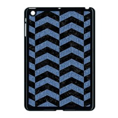 Chevron2 Black Marble & Blue Denim Apple Ipad Mini Case (black) by trendistuff