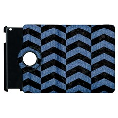 Chevron2 Black Marble & Blue Denim Apple Ipad 3/4 Flip 360 Case by trendistuff